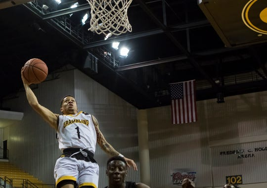 Grambling's Ivy Smith Jr. (1) sails in for a dunk during the game against Alabama State at Fredrick C. Hobdy Arena in Gramlbing, La. on Jan 6.