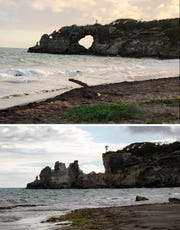 "This combo of two photos shows ""Punta Ventana,"" or Window Point, in Guayanilla, Puerto Rico on Jan. 27, 2019, top, before it fell, and after it fell on Jan. 6, 2020 due to an earthquake. (Edgar Gracia Portello via AP, top, and AP Photo by Jorge A Ramirez Portela, bottom)"