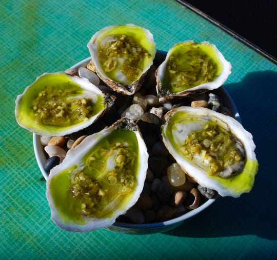 Oysters with green curry mignonette at Setsun.