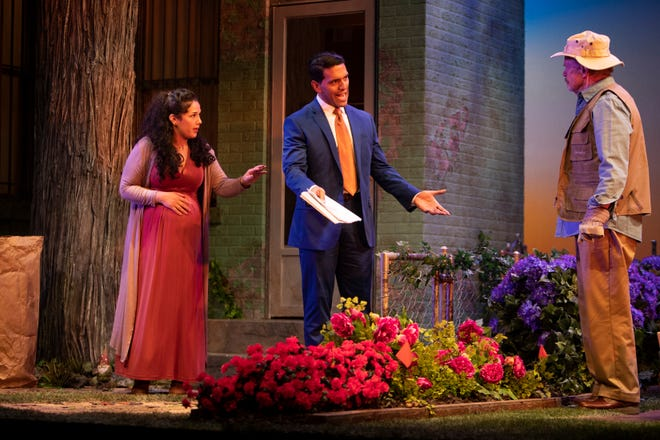 Actors Elizabeth Ramos, left, Armando Acevedo and William Parry rehearse a scene from Gulfshore Playhouse production of Native Gardens, Tuesday, Jan. 7, 2020, at the Norris Community Center in Naples.