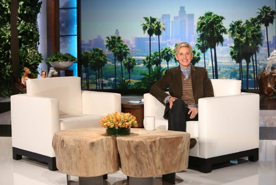Ellen DeGeneres on the set of her syndicated TV show.