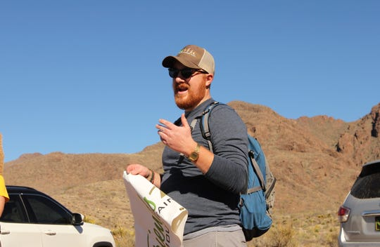 Patrick Nolan, executive director of Friends of Organ Mountains-Desert Peaks, gives instructions before a group hike on the Achenbach Canyon trail near Las Cruces on Sunday, Jan. 5, 2020.