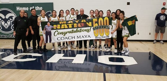 Mayfield girls basketball coach George Maya surpassed the 500-win mark this season.