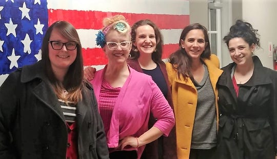 Pictured from left are animal-rights advocates Kyla Cruz, Debra Levantrosser, Molly Tamulevich,  Sharon Shachar and Lauren Saper.
