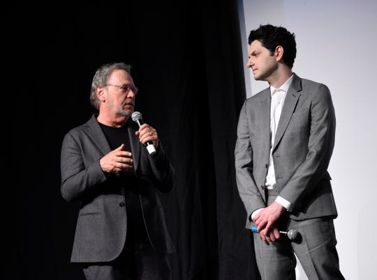 "Actors Billy Crystal and Ben Schwartz speak after a screening of ""Standing Up, Falling Down"" at the 31st Annual Palm Springs International Film Festival on January 6, 2020 in Palm Springs, California."
