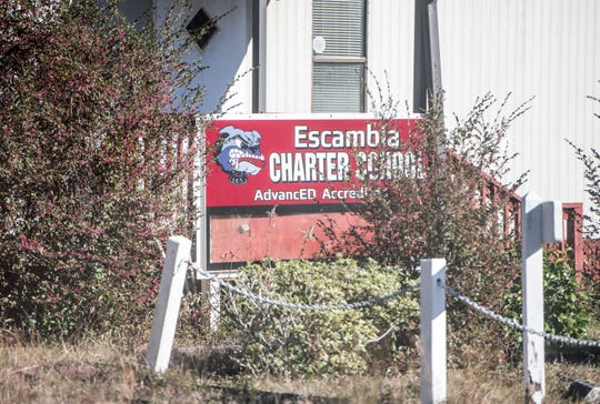 The former Escambia Charter School is pictured Tuesday. Escambia County is considering building its new Public Safety Department training center at the location.