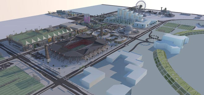 An overview rendering of the west part of Akimel 7, a entertainment, sports and high-tech complex planned for the Loop 101 and 202 interchange.