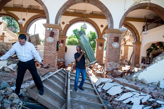 Una iglesia en Puerto Rico sufrió severos daños por el sismo.