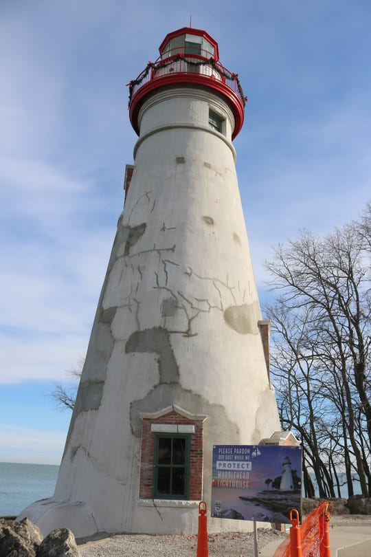 Critical restoration work on the Marblehead Lighthouse includes extensive repairs to the stucco exterior, according to the Ohio Department of Natural Resources.