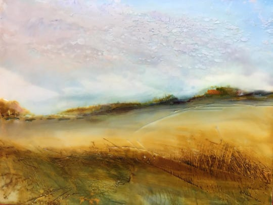 October Morning by Regina Quinn: encaustic and cold wax painting.