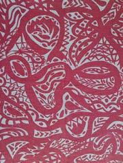"Ruth Reeves: ""Kapiti"" Design,Textile by Matilda Whaepapa & Interpreted by Ruth Reeves  for Bretton Fabrics Corp.,"