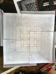 Pictured is artist Gale Jamieson's concept for a quilt inspired by the tile pattern in the original Yorktowne Hotel. Jamieson is one of 12 artists commissioned to create artwork for the restored hotel.