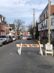 A portion of North Belvidere Avenue is closed for an indefinite period of time after a  partial collapse of a rowhouse Monday, Jan. 6.