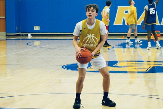 Kennard-Dale junior guard Carter Day shoots a free throw during practice. Day is leading the York-Adams League in scoring at nearly 30 points per game.