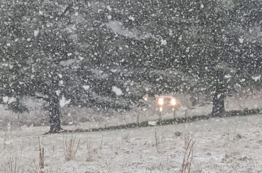 Heavy snow falls in Manchester Township, York County, on Tuesday afternoon.