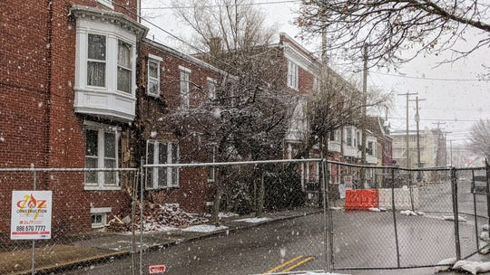 Brick fell from a row home on West Philadelphia Street in York, leading to the closure of Belvidere Street along the side of the building.