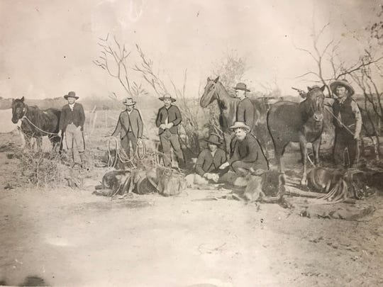 On the ranch of the late J.I. Case on Dove Creek the following hands were employed about Jan. 1, 1890: From left, Jim Tailbert, wagon boss; second man unidentified; Tom McNeill of San Saba; Tom Woods; Will Carver. Sitting are John Meaders and Stanley Holbrook. The Battle of Dove Creek on Jan. 8, 1865 created animosity between Native American and white settlers for many years to come, and subsequent Kickapoo raids resulted from the hostility.