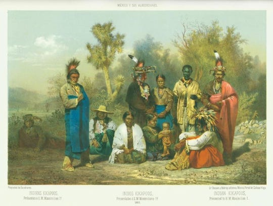 A group of Native American Kickapoos were presented at the court of Emperor Maximilian I after they arrived in Mexico in 1865, following a deadly encounter with whites at Dove Creek earlier that year.