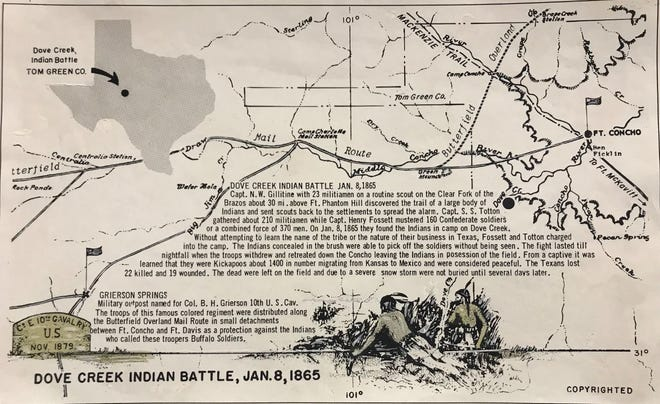 This map shows West Texas as it appeared in 1865, when the Battle of Dove Creek took place in what is now Irion County.