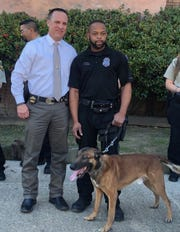 Shreveport's Cpl. LaBrian Marsden and K9 Casper pose for a photo with Panola County, Texas, Sheriff Kevin Lake on Tuesday, Jan. 7, 2020.