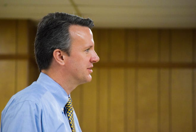 Sixth District Rep. Ben Cline (R-Botetourt) answers a question on Jan. 7, 2020, during a Staunton town hall.