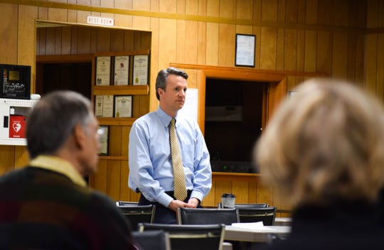 Rep. Ben Cline, R-Botetourt, listens to a constituent's question on Jan. 7, 2020, during a Staunton town hall. Cline answered questions about a variety of issues, including climate change, the economy, Iran and impeachment.