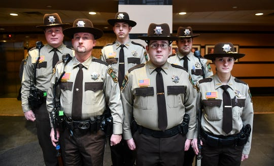 Stearn's County Sheriff's Department Honor Guard members are pictured Tuesday, Jan. 7, 2020, at the Stearns County Administration Center in St. Cloud.