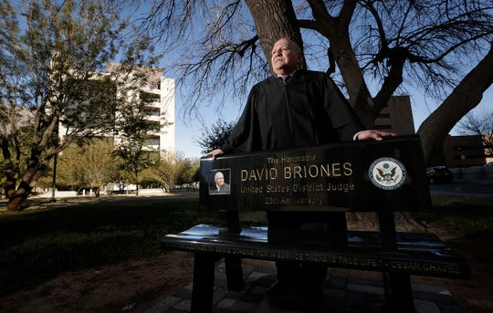 U.S. Senior Judge David Briones was honored with a granite bench dedicated to him outside the federal courthouse by his fellow judges, the legal community and dozens of the proteges that he has impacted through his 25-year career.