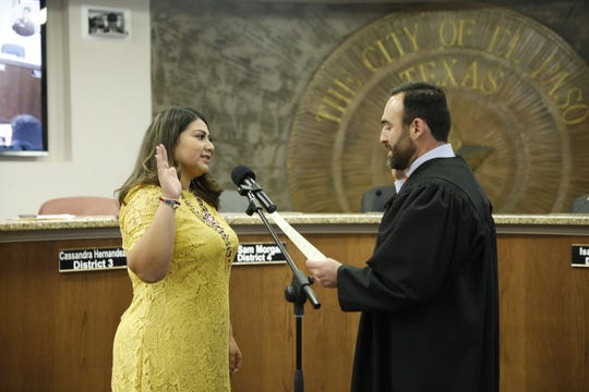District 3 city Rep. Cassandra Hernandez sworn into office by El Paso County Judge Josh Herrera on January 7.
