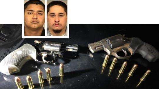 From left: Isaac Zuniga and Julyan Reinhart, plus seized guns.