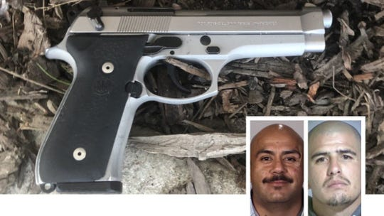 From left: David Ortiz and Jaime Gonzalez, plus discarded gun