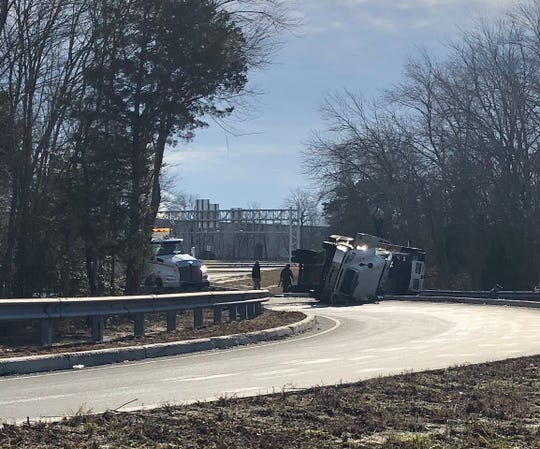 A driver was seriously injured when a tractor trailer overturned Jan. 7, 2020 on the Route 55 ramp at Garden Road in Vineland.