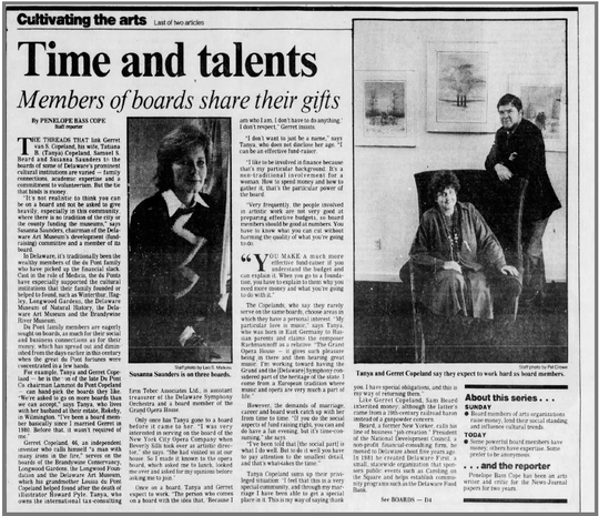 A News Journal article from the 1985 describes Gerrett and Tatiana Copeland's role in Delaware's philanthropic community.