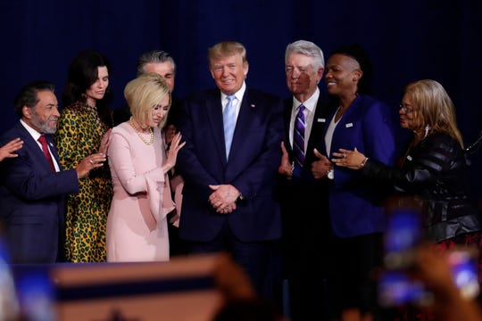 President Donald Trump campaigns with evangelical supporters in Miami on Jan. 3, 2020.