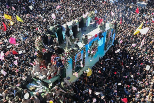 Funeral procession for Iranian Gen. Qassem Soleimani in Kerman, Iran, on Jan. 7, 2020.