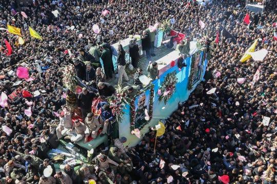 Funeral procession for Iranian Gen. Qassem Soleimani in Kerman, Iran, on Jan. 7, 2020.