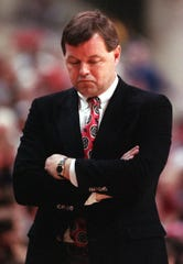 Bob Wenzel, shown during his days as the Rutgers head basektball coach, was back at the RAC Tuesday nith as part of the Big Ten Network broadcast crew.