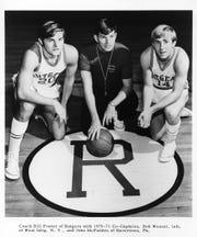 Rutgers coach Bill Foster, center, with Bob Wenzel (left) and John McFadden.