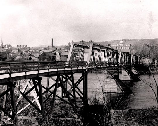 The foot bridge in the 1870s connecting Exchange Street to Binghamton's South Side.