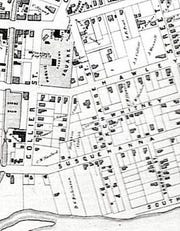 An 1830s map showing Exchange Street.