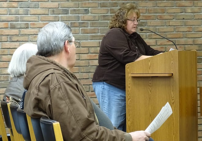 Jenny Vermillion, seen here addressing Bucyrus City Council in January 2020, has been appointed by the Republican Party to run for council president in November.