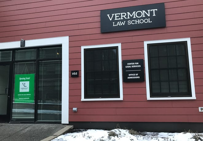 Vermont Law School's new Center for Legal Services and Office of Admissions is seen on St. Paul Street in Burlington on Jan. 8, 2020. The modest-sized building sits between Pizzeria Veritas (left) and Vermont Housing Finance Agency.