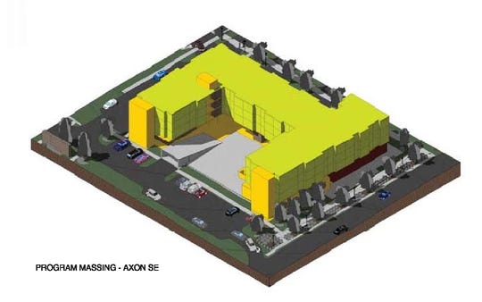 Bird's eye view of a proposed hotel: A south-facing patio and restaurant space is seen in this computer-generated model of a Residence Inn by Marriott along Shelburne Road in South Burlington. The model was part of a submission to the city's Development Review Board, which discussed the project on Jan. 7, 2020.