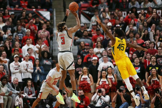 Jan 7, 2020; Lubbock, Texas, USA;  Texas Tech Red Raiders guard Jahmi'us Ramsey (3) shoots the ball over Baylor Bears guard Davion Mitchell (45) in the first half at United Supermarkets Arena. Mandatory Credit: Michael C. Johnson-USA TODAY Sports