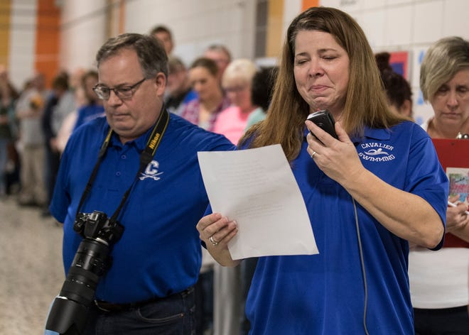Current Chillicothe High School swim coach Jennifer Hayburn becomes emotional while talking about her friend and coach Wendy Arth at the beginning of the Wendy Arth Swim Meet at the Ross county YMCA on Jan. 7, 2020. All the proceeds for the swim meet are being donated to a scholarship through the Chillicothe Education Foundation in Arth's name.