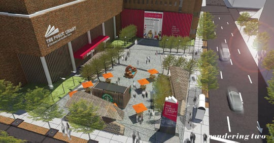 A rendering of what a revamped library plaza could look like