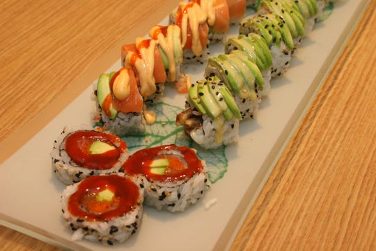 Zombie Roll (outside), Q-Ball Roll (back) and Yellow Jacket Roll (front) at Asiana.