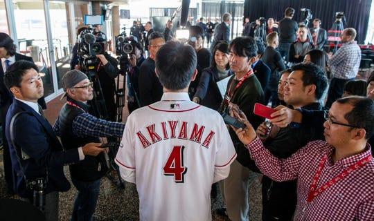 The Cincinnati Reds new outfielder Shogo Akiyama takes questions from the Japanese media Wednesday January 8, 2020 at Great American Ball Park. Akiyama signed a three-year, $21 million contract, and he will become the first Japanese player in franchise history when he plays in his first game.