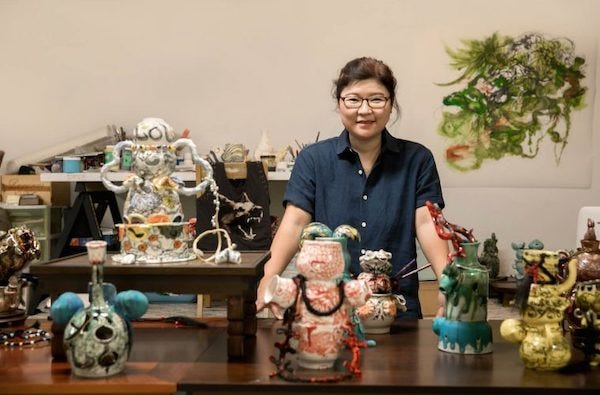 Jiha Moon and some of her creations.
