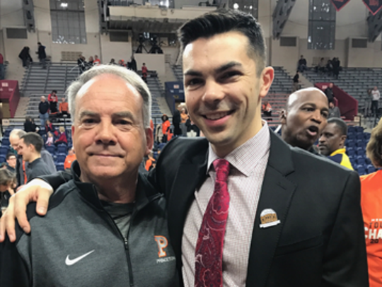 "Kevin MacConnell, left, pictured with his son Brett, who is the associate head basketball coach at Princeton University, has reportedly returned to Rutgers to serve as Greg Schiano's ""Chief of Staff"""
